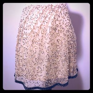 Zara Pale Pink and Steel Grey Beaded Skirt